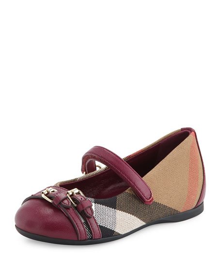 Burberry Mini Avonwick Grip-Strap Ballet Flat, Magenta, Toddler