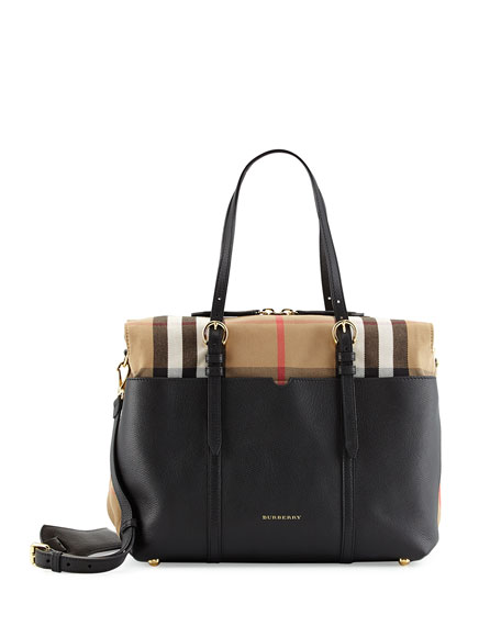 Burberry Mason Check-Trim Leather Tote Bag, Black