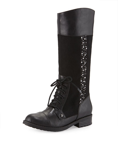 Elie Tahari Faux-Leather Riding Boot, Black, Youth