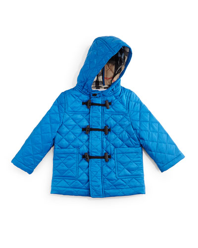 Boris Quilted Duffle Coat, Cerulean Blue, Size 3M-3Y