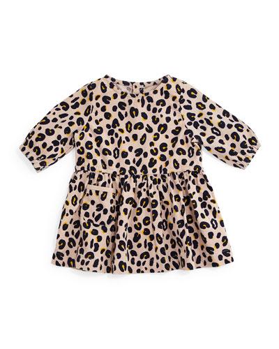 Skippy Leopard-Print Corduroy Dress, Pink, Size 12-24 Months