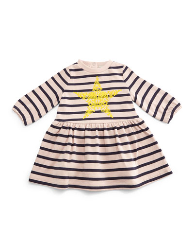 Bretta Striped A-Line Dress, Pink/Navy, Size 6-24 Months