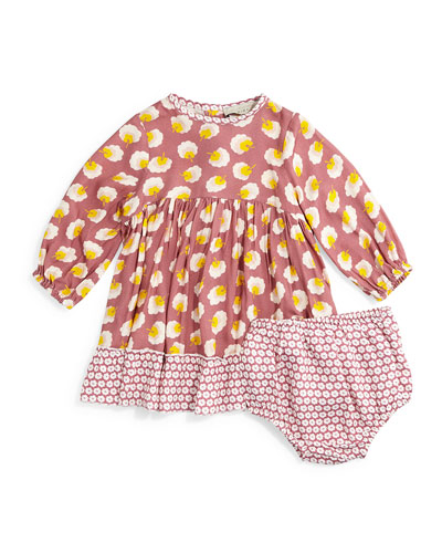 Martina Pom Pom A-Line Dress, Rose, Size 6-24 Months