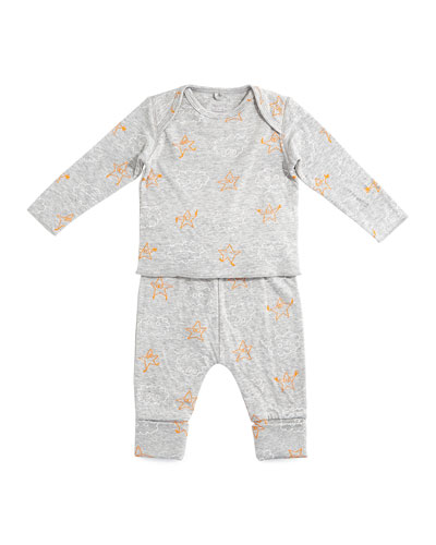 Double-Faced Cotton Long-Sleeve Top & Pants, Gray, Size 6-24 Months