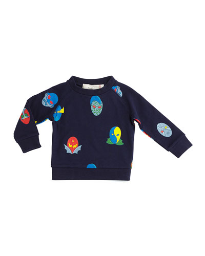 Billy Fleece Superhero Sweatshirt, Blue, Size 6-24 Months