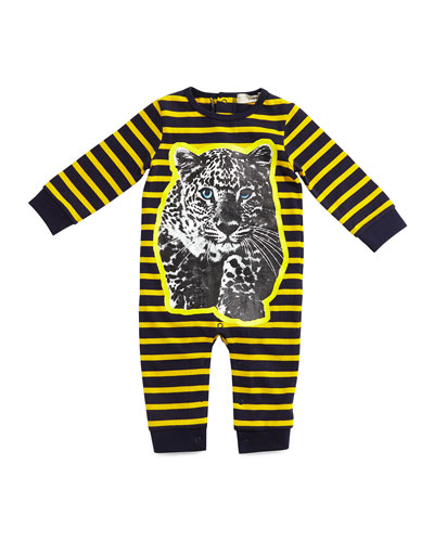 Dewberry Striped Leopard-Graphic Coverall, Indigo/Yellow, Size 6-24 Months