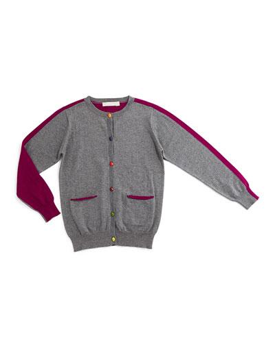 Lauren Button-Front Colorblock Cardigan, Pebble/Purple, Size 4Y-14Y