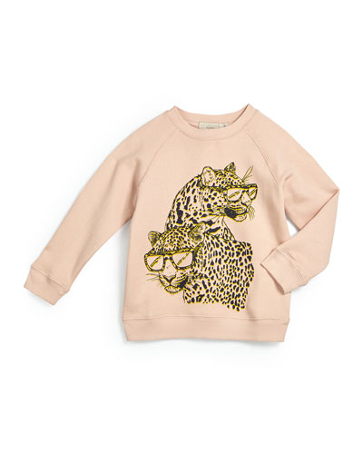 Betty Raglan Cheetah Sweater, Rose, Size 4Y-14Y