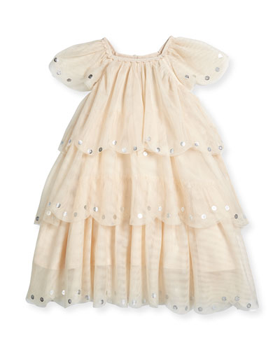 Violet Tiered Tulle Dress, Ivory, Size 4Y-14Y