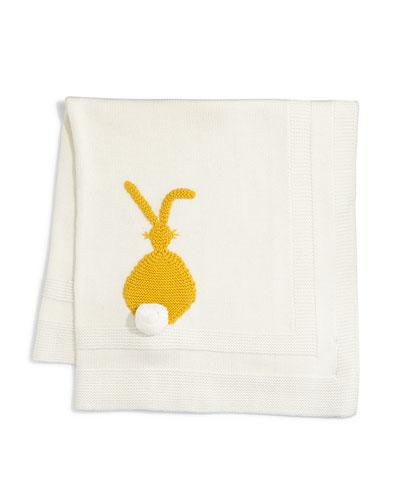 Snowball Bunny-Intarsia Knit Blanket, Ivory
