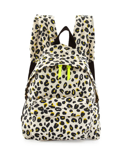 Splat Leopard-Print Backpack, Cream