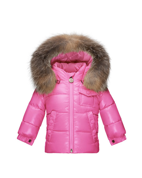 Moncler K2 Hooded Fur-Trim Puffer Coat, Pink Size