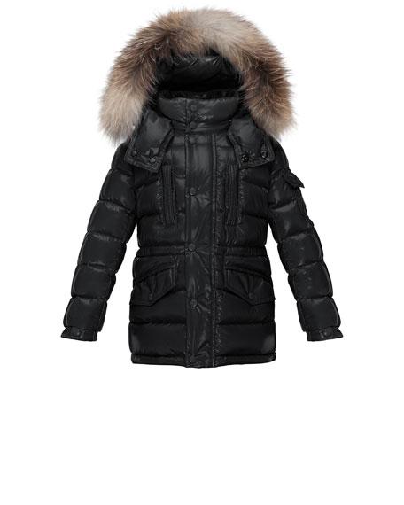 Moncler Hooded Fur-Trim Button-Front Puffer Coat, Black, Size