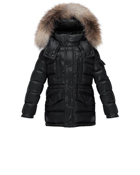 Moncler Hooded Fur-Trim Button-Front Puffer Coat, Black, Size