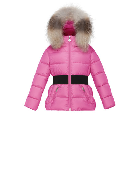 Moncler Aimee Hooded Fur-Trim Puffer Coat, Pink, Size