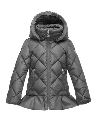 Vouglette Hooded Puffer Coat, Platinum, Size 4-6
