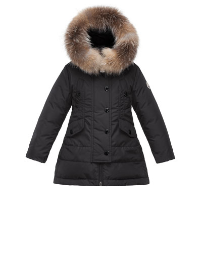 Arrientine Hooded Fur-Trim Down Coat, Black, Size 8-14