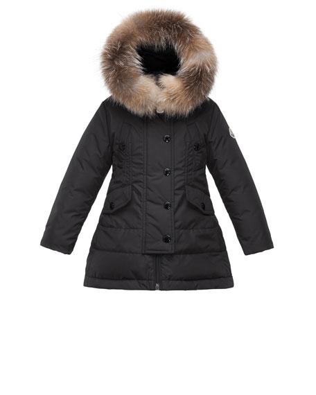 Moncler Arrientine Hooded Fur-Trim Down Coat, Black, Size