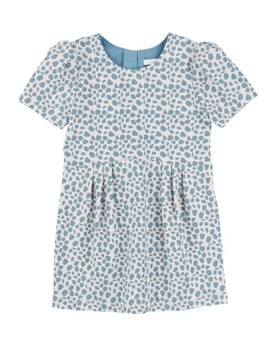 Short-Sleeve Animal-Print Shift Dress, White/Light Blue