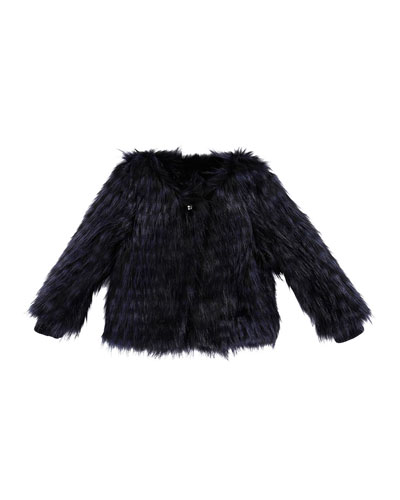 Faux-Fur Jacket, Blue Marine, Size 6-10