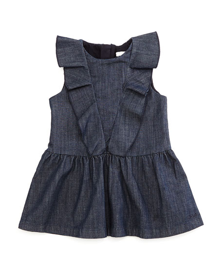 Chloe Sleeveless Ruffle Trim Fit And Flare Chambray Dress