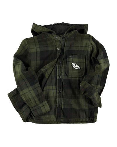 Ray Plaid Hooded Shirt, Olive/Black, Size 3-14