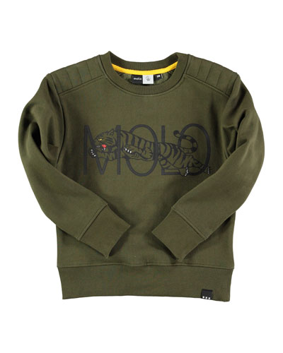 Motley Tiger Pullover Sweatshirt, Olive, Size 4-14