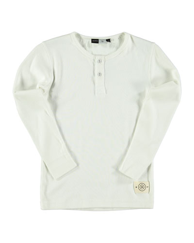 Rolf Long-Sleeve Henley Tee, White, Size 4-14