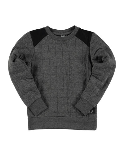 Mitchell Quilted Pullover Sweatshirt, Gray, Size 4-14