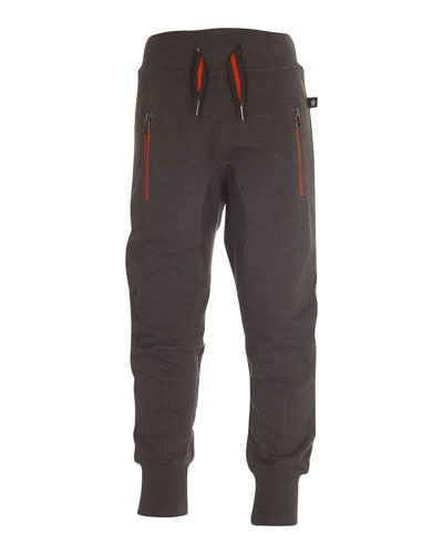 Ashton Zip-Pocket Track Pants, Gray, Size 4-14