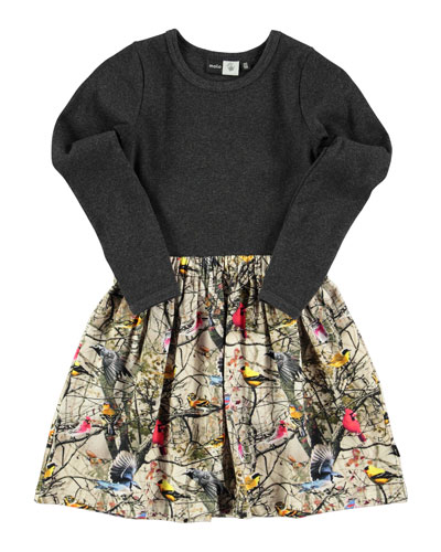 Credence Bright Birds Combo Dress, Gray/Multicolor, Size 3-12