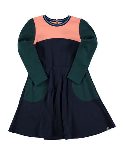Casie A-Line Colorblock Dress, Inky Blue, Size 5-14