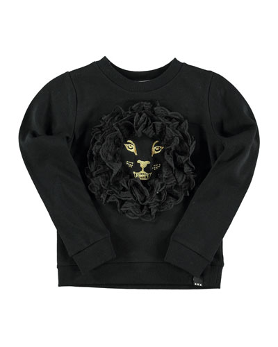 Milla Embroidered 3D Sweatshirt, Black, Size 4-12