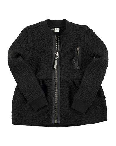 Marci Leather-Trim Textured Zip-Front Sweatshirt, Black, Size 4-14