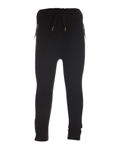 Alberte Leather-Trim Sweatpants, Black, Size 4-14