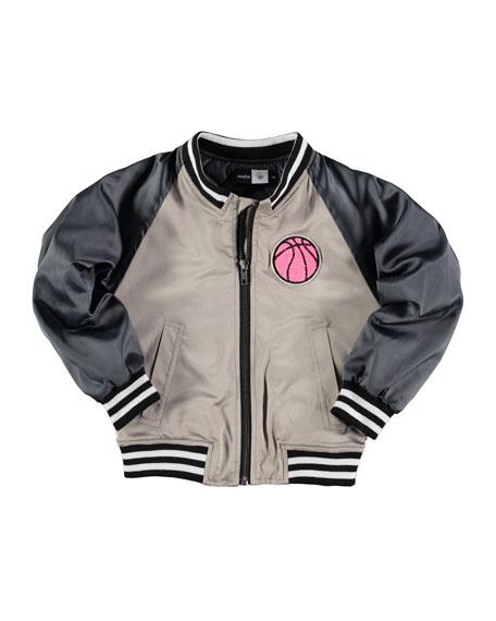 molo Hortencia Striped-Trim Satin Bomber Jacket, Sandstone, Size
