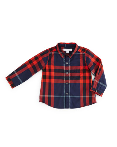 Fred Mini Long-Sleeve Check Shirt, Marine Blue, Size 3M-3Y