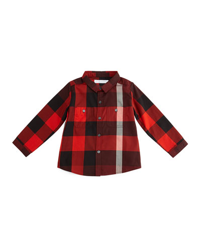 Mini Camber Check Shirt, Oxblood, Size 3M-3Y
