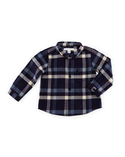 Fred Flannel Check Shirt, Navy, Size 3M-3Y