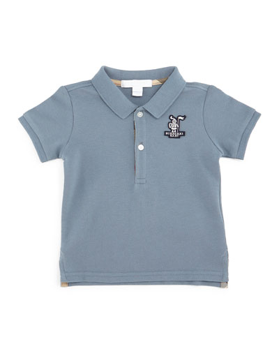 Palmer Cotton Pique Polo Shirt, Slate Blue, Size 3M-3Y