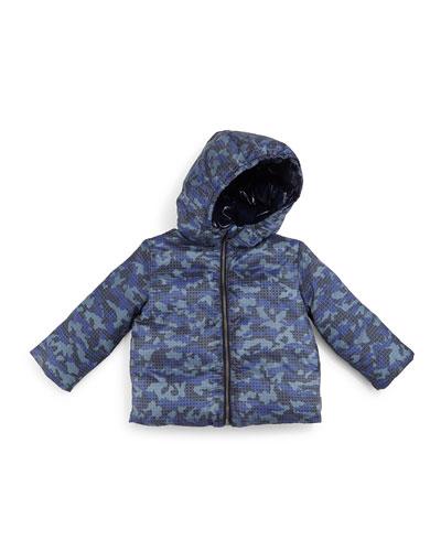 Rio Down Camo-Print Coat, Slate Blue, Size 3M-3Y