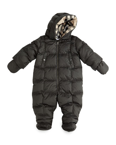 Skylar Hooded Down Snowsuit, Flint, Size 3M-2T