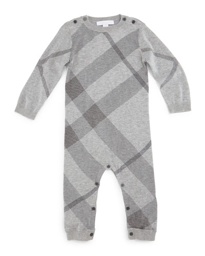 Rafy Check Cashmere-Blend Coverall, Pale Gray Melange, Size 3M-2Y