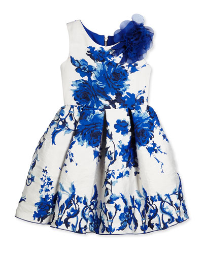 Sleeveless Floral Brocade Party Dress, White/Royal, Size 2-6
