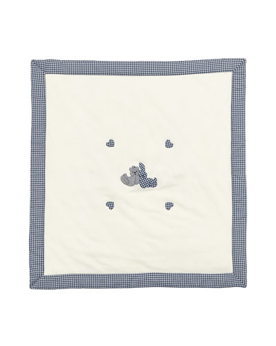 Gingham-Trim Knit Baby Blanket w/ Applique, White/Blue