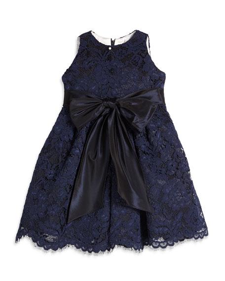 Sleeveless Lace A-Line Dress, Navy, Size 4-6