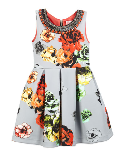 Sleeveless Floral Pleated Ponte Dress, Gray, Size 4-6