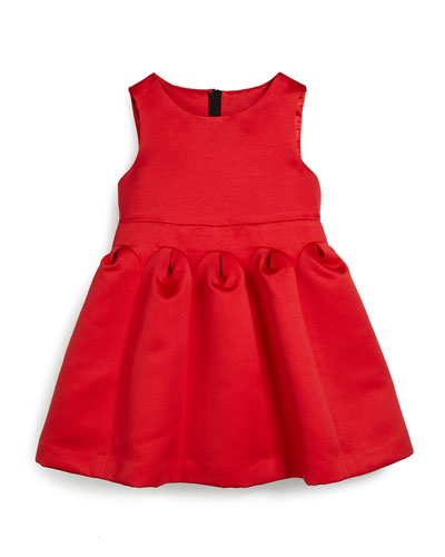 Satin Fit-and-Flare Dress, Red, Size 8-14