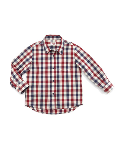 Long-Sleeve Poplin Check-Print Shirt, Red, Size 5-8