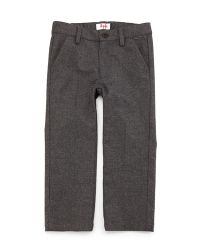 Woven Slim-Fit Gabardine Pants, Gray, Size 2-4